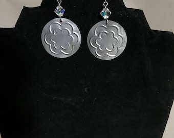 Double Flower Hand Embossed Upcycled Earrings TRTV18DF FREE Shipping