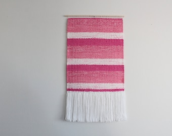 Pink and White Woven Wall Hanging
