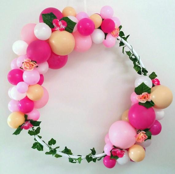 Balloon frame garland wreath hula hoop diy kit magenta pink like this item solutioingenieria Gallery