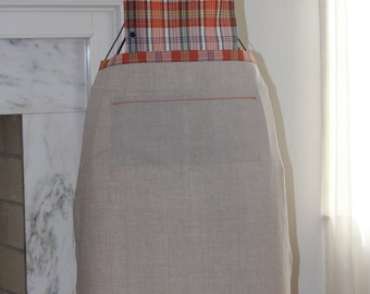 Full Apron, Linen and Cotton, Beige with Orange Plaid Bib, Chicken Embroidery Accent