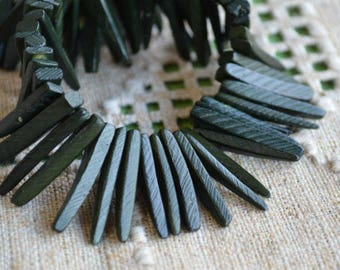 Dark Green Sticks Wood Beads Top-Drilled Stick 25x4mm 16 Inches Coconut Palm