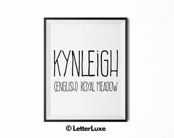 Kynleigh Name Meaning Art - Printable Baby Shower Gift - Nursery Printable Art - Digital Print - Nursery Decor - Typography Wall Decor