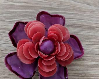 Red & Purple Rose Enamel Plastic Flower Brooch