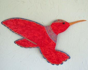 Metal Garden Art Hummingbird Sculpture Indoor Outdoor Wall or Stake Red 8 x 15