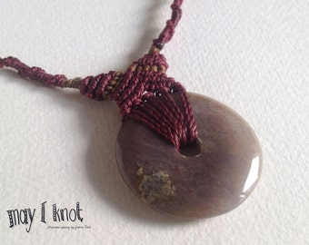 Maroon macrame necklace with donut stone