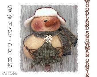 Primitive Snowman PATTERN Trapper Hat, Tree, Ornament- Woodland Ornie - Sew Many Prims - instant download