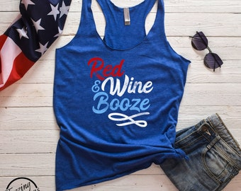 Funny 4th of July Red Wine and Booze Women's Racerback Tank