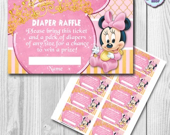 Baby Minnie Mouse Diaper Raffle Tickets, Baby Minnie Mouse Diaper Raffle, INSTANT DOWNLOAD, You Print