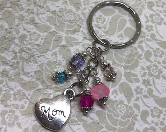 Mom Heart Keychain Pink Blue Purple Sparkling Glass Beads Charm Fuchsia Mother's Day Gift BD002