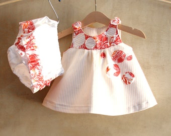 Baby girl set dress and shorts, off white orange cotton top and Diaper Cover, 1st birthday gift, Tunic and Bloomers, Rustic flower girl suit