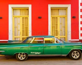 Cuba Car Photography, Old Green American Car, Trinidad Street, Cuba Car Print Art, Red Buick Photo, Fine Art Photography, Cuba Car Wall Art
