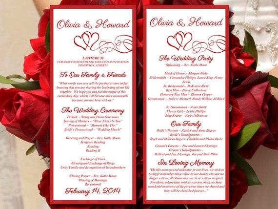 Heart Wedding Program Template Download Valentine Red