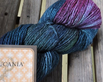 WORSTED Weight Yarn - Wool Silk Blend - 100g - 208 yards - Araucania Rinihue - Color #1709 - Teal, Green, Purple
