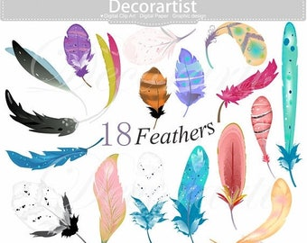 ON SALE Feathers clipart, feather, painted feathers, watercolor style drawing