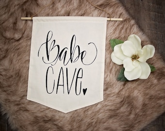 Girls Room Baby Nursery Woman Cave Babe Cave She Shed Craft Room Floral Hand Lettered Pennant Flag Nursery Bunting Black & White