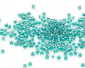 Miyuki, Delica Seed Beads 11/0 Color Lined Dark Turquoise Blue