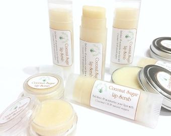 Lip Scrub, Coconut oil scrub, sugar lip scrub, natural lip scrub, lip balm tube, jar or tin