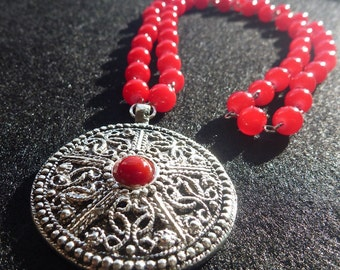 Silver and Red Beaded Pendant necklace