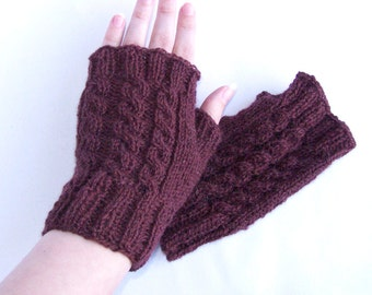 Unisex brown fingerless mittens, wool hand warmers for him and her, outdoor and indoor use Medium size M and L