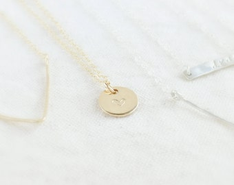 Tiny initial heart (necklace) - Small 14k Gold Filled disc personalized jewelry