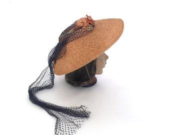 vintage 1940s hat | 40s summer saucer hat