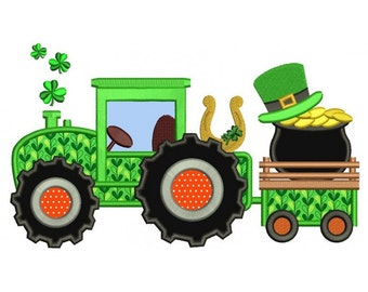 Tractor With Shamrock and Pot of Gold St. Patrick's Machine Embroidery Applique Design Digitized Pattern - Instant Download