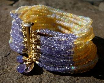 Ethiopian Opal Bracelet,Yellow Opal Bracelet,Welo Opal and Tanzanite Bracelet,Opal Bracelet,Multi Strand Opal Gemstone Cuff Bracelet