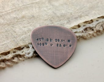 Latitude Longitude · Custom Guitar Pick · Custom Coordinates · Personalized Gifts · Copper Guitar Pick · Anniversary Gift · Gift for Husband