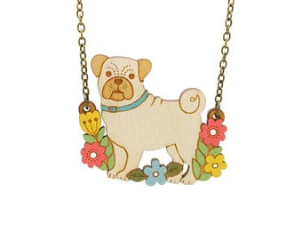 Pug necklace ~ hand painted laser cut dog necklace