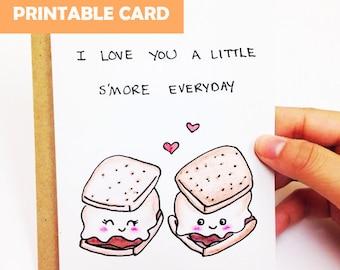 Cute anniversary card, Funny anniversary card boyfriend, funny love card husband, cute love card, funny card, smore card, printable card