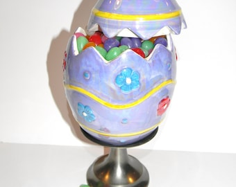Easter Egg Candy Dish on Silver Pedestal