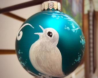 Singing In The Blue - Hand Painted Ornament