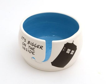 Doctor Who Yarn Bowl, Tardis, large yarn bowl with release,bigger on the inside, ceramic knitting bowl