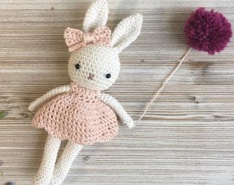 Amigurumi bunny girl,crochet bunny,crochet toy,baby bunny blossom amigurumi, bunny dress,child gift, newborn birth gift, newborn shower gift