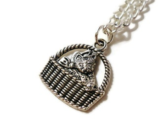 Black Friday Sale, Silver Cat Necklace, Kitty in a Basket Necklace, Metal Charm Necklace, Animal Pendant Necklace, Cat Lover Gift Idea,