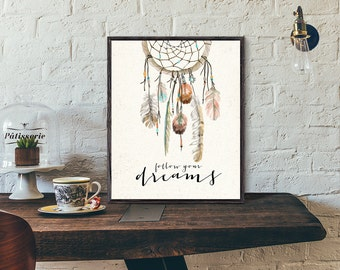 Watercolor dreamcatcher, feathers printable bohemian tribal wall art, wild boho rose, vintage home deoration, wall art, follow your dreams