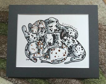 DALMATIAN dogs (Dalmatiner/Dalmatien) - ink cartoon of pile of sleepy Dalmatians + puppy, perfect gifts for dog lovers by York animal artist
