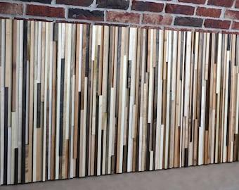 Reclaimed Wood Sculpture King headboard - 36 x 78