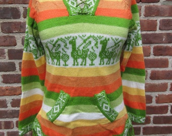 Vintage Sweater Llama Pullover fringed Stripe Top Colorful knit hoodie Winter knit Sweater Pullover Hippie festival Tunic Bohemian knitted