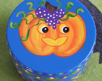 Hand Painted Love Boxes Halloween Pumpkin Wood Box