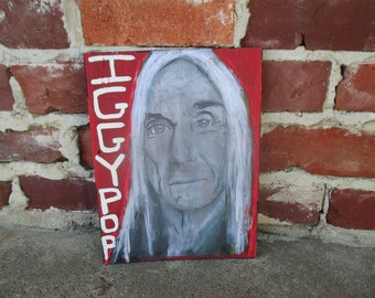 Iggy Pop of the Stooges mixed media art on salvaged wood, Godfather of Punk, Iggy Pop painting, Iggy Pop wall art, proto-punk, punk rock