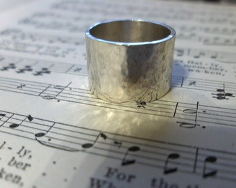 Sterling silver hammered wide band, your size