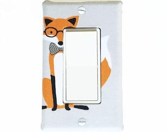 Light Switch Plate Cover, slider/rocker wallplate, wall decor -  grey with fancy fox