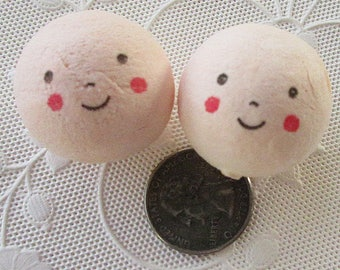 Spun Cotton Heads 4 Jumbo Smiling Head Elf or Doll Pixie Angel Faces Czech Republic 30mm  Style D