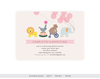 Elephant Baby Shower Invitation | Girl Baby Shower, Circus Invitation, Instant Download, Printable, Template, Diaper Raffle, PDF