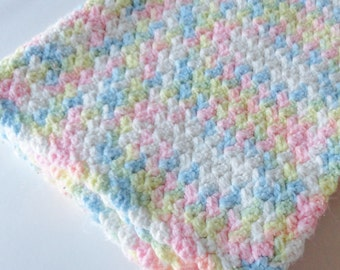 1 Pastel Crochet Afghan Baby Blanket - Crib Throw, Lap Blanket, Pink Blue Yellow Green White, Gender Neutral Nursery Decor, New Baby Gift