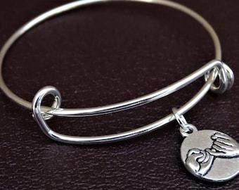 Best Friend Bangle Bracelet, Adjustable Expandable Bangle Bracelet, Friendship Charm Bracelet, BFF Pendant, Friend Bracelet, BFF Jewelry