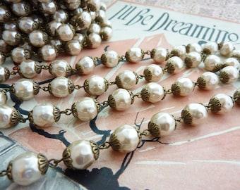 Bead Chain Pearl Chain 10mm Baroque Glass Pearl Bead Chain Light Coffee 18 Inches #039 Light Coffee Color