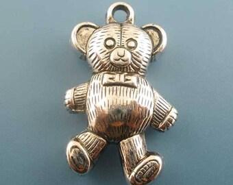 Teddy bear 34 x 20 mm - Silver Charm pendant