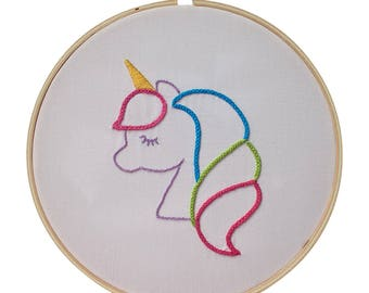 Embroidery Kit - Gift Set, Skill Level 4, Unicorn Design